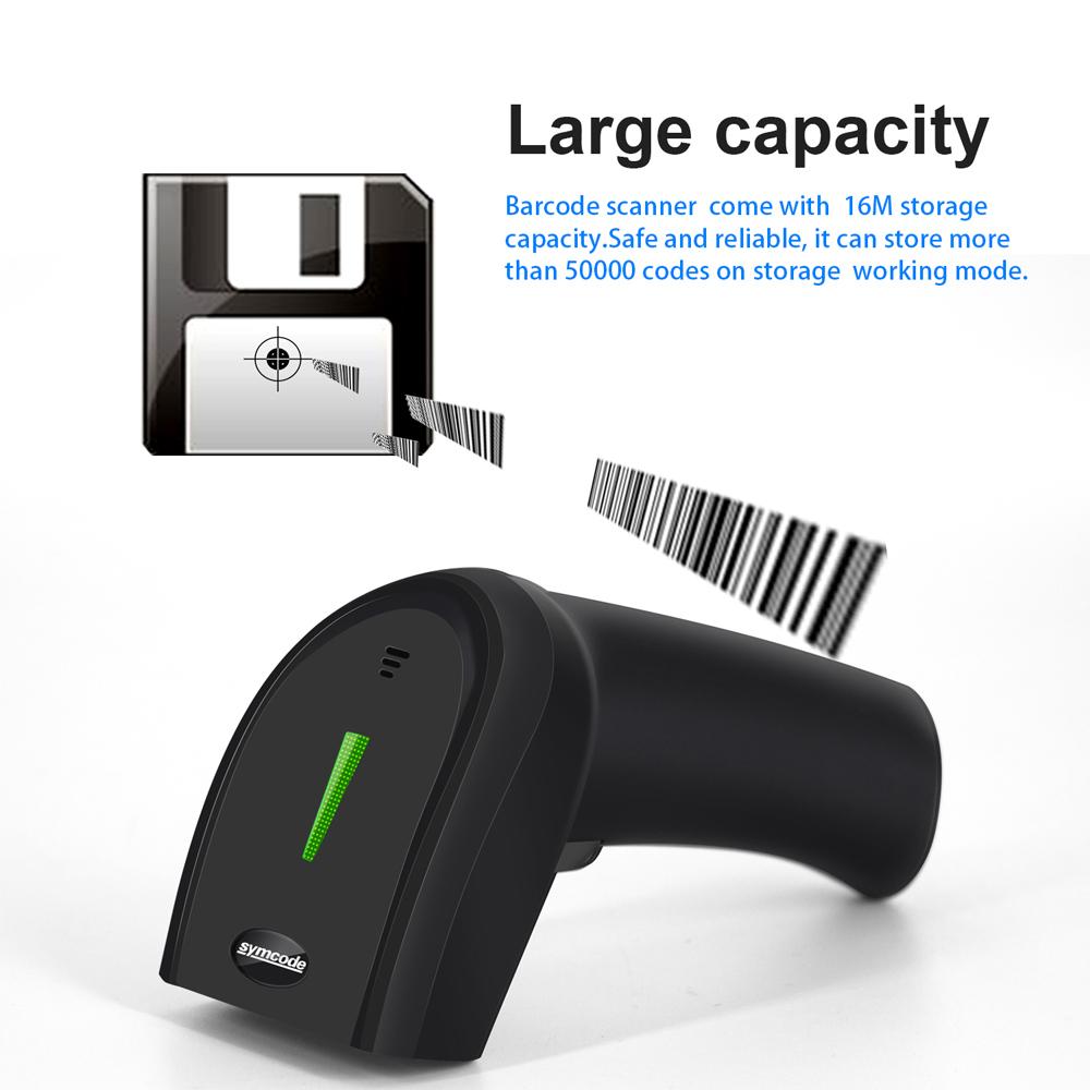 Scanner Barcdeo sans fil 2d, distance de transfert de 30-100 mètres, espace de stockage de 16 m, code de décodage Qr, pdf-417, matrice de données T8190622
