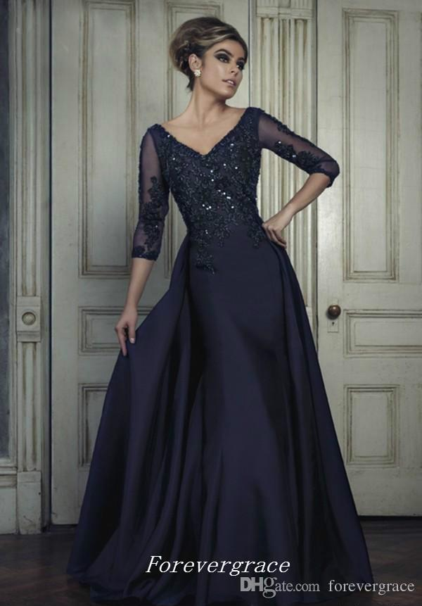 2017 V-neck Prom Dress Half Sleeves Elegant Backless Floor-Length Long Women Wear Special Occasion Dress Party Gown Custom Made Plus Size
