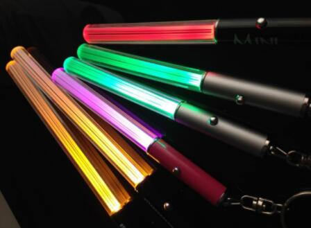 Wholesale LED Flashlight Stick Keychain Mini Torch Aluminum Key Chain Key Ring Durable Glow Pen Magic Wand Stick Lightsaber LED Light Stick