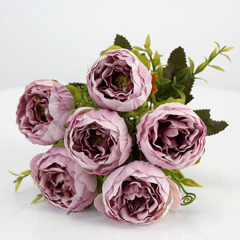 Ramo de Flores Artificiales de Seda Color Rosa Claro y Rosa A1-Homes 35 cm