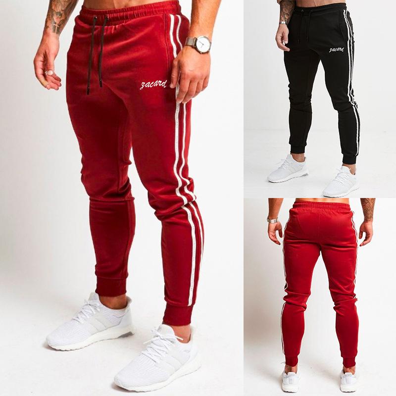 Cool2019 Code European Trend Stripe Pulling Rope Motion Hombre Pantalones de ocio A30 -b