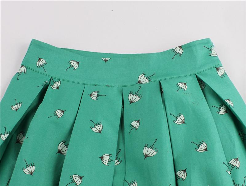 Kostlish Retro Print Flower Summer Skirts Womens High Waist Vintage Skirt Elegant A-Line Midi Women Skirt Plus Size XXL (46)