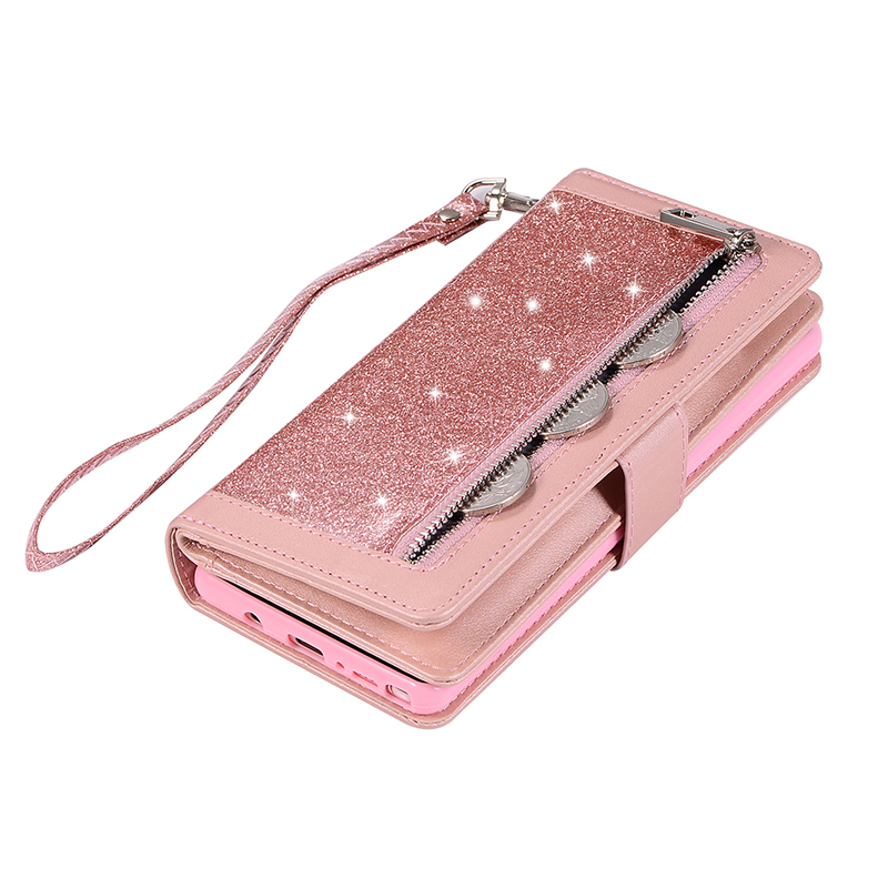 9 Cards Zipper Leather Case For Samsung Galaxy S8 S9 Plus S7 edge Glitter Wallet Cover For Samsung Note 9 Note 8 Flip Phone Case