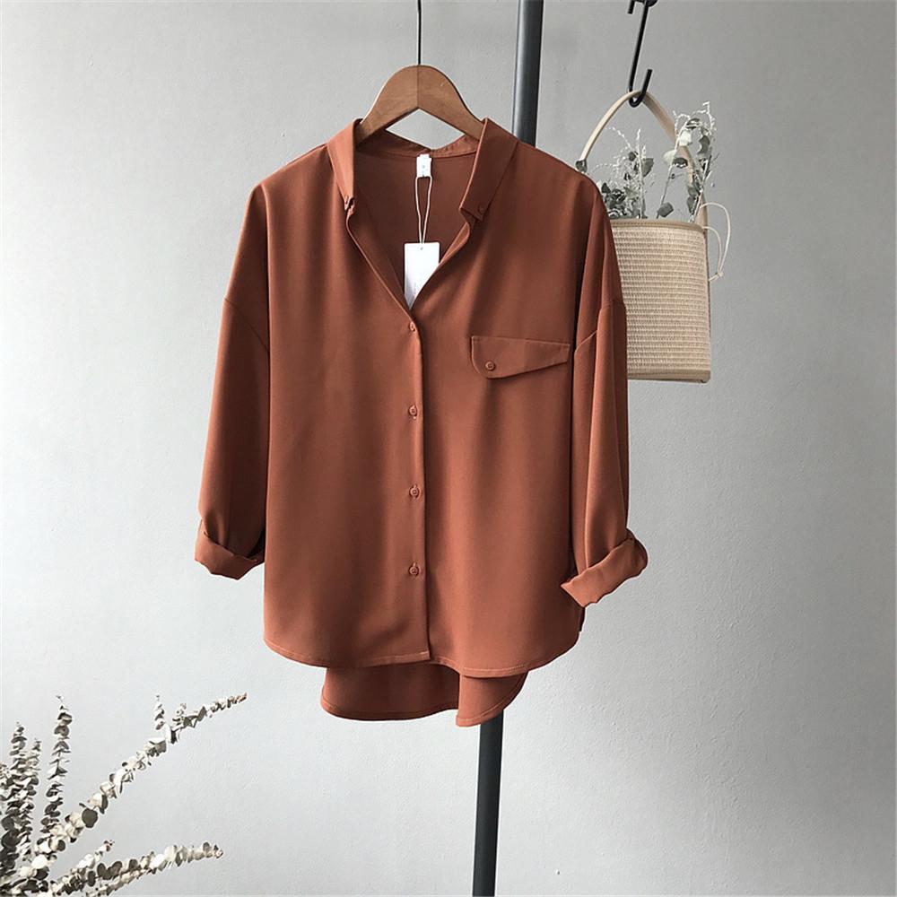 High quality Casual Chiffon white Women blouse shirt oversized Three Quarter sleeve loose shirt office wear casua tops blusas (12)