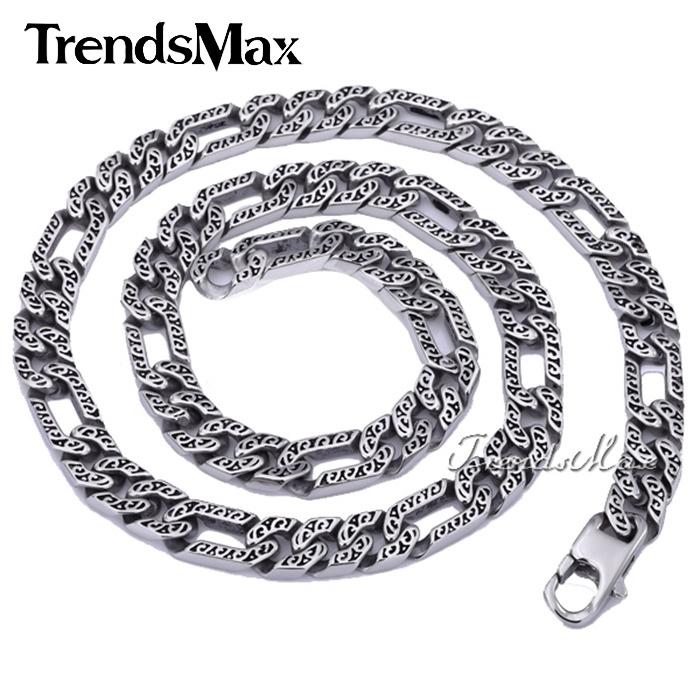 Trendsmax Personalizado Qualquer Comprimento 10mm Pesado Pele de Animal Figaro Mens Cadeia Meninos Colar De Prata Tom Aço Inoxidável 316l Hn34 J190526