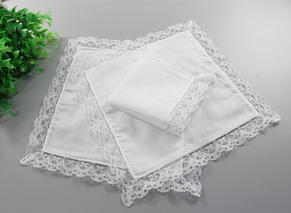 White Lace Thin Handkerchief Woman Wedding Gifts Party Decoration Cloth Napkins Plain Blank DIY Handkerchief 25*25cm