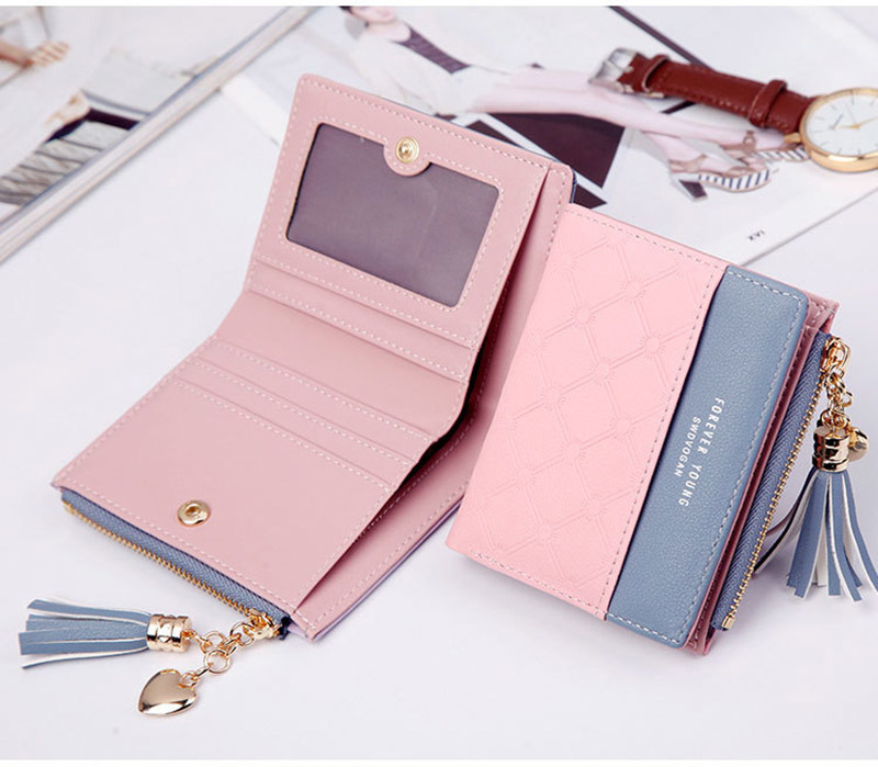 Women Wallet Female Short Paragraph Coin Purse Color Wallet Women Small Fold Wallets Tassel Zipper Button Bag Credit Card Holder (12)