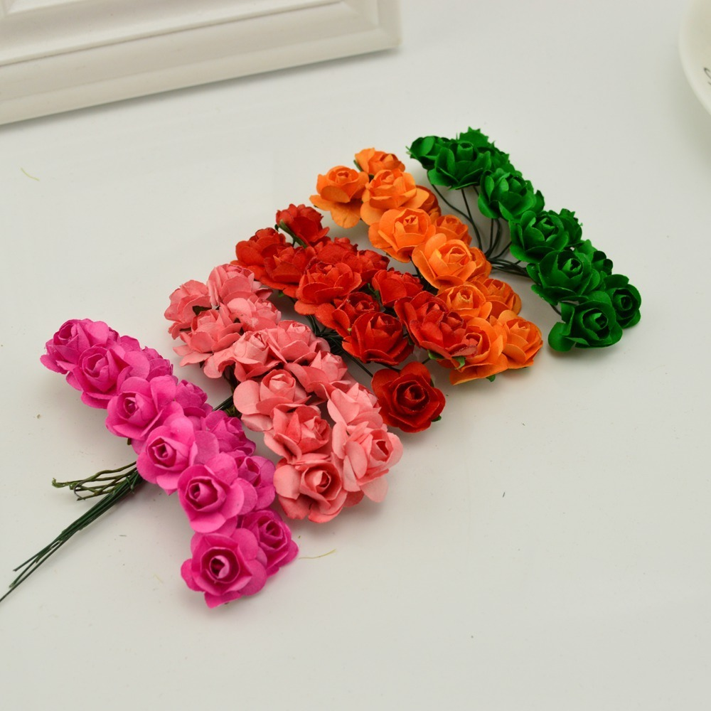 144pcs-1cm-cheap-Artificial-Paper-flowers-for-Wedding-car-fake-Roses-Used-For-decoration-Candy-box(4)