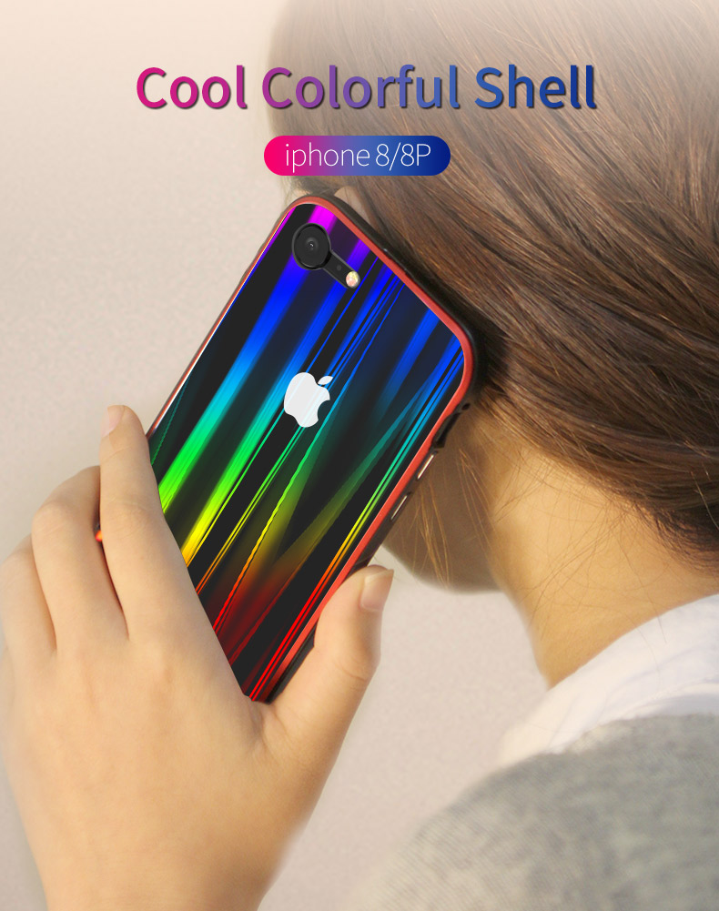 LUPHIE Colorful Laser Aurora Case For iPhone X 8 7 Plus Luxury Glass Case (1)