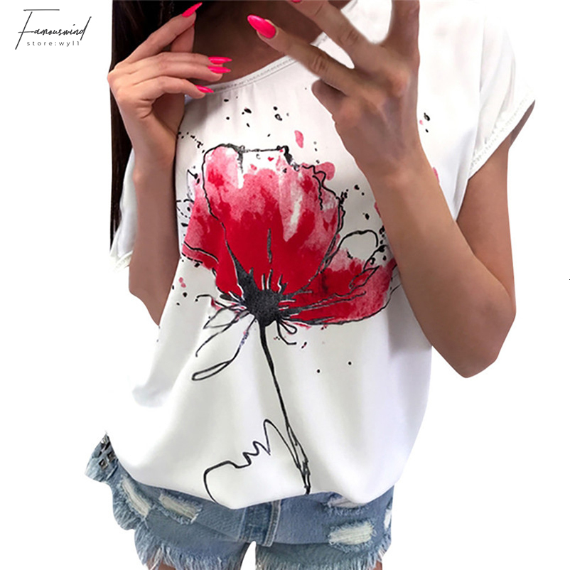 Floral Print Blouse Short Sleeve Loose Top Women Girls T-shirts Casual Loose Tops Soft Clothing For Women Girls 40JA10 (10)