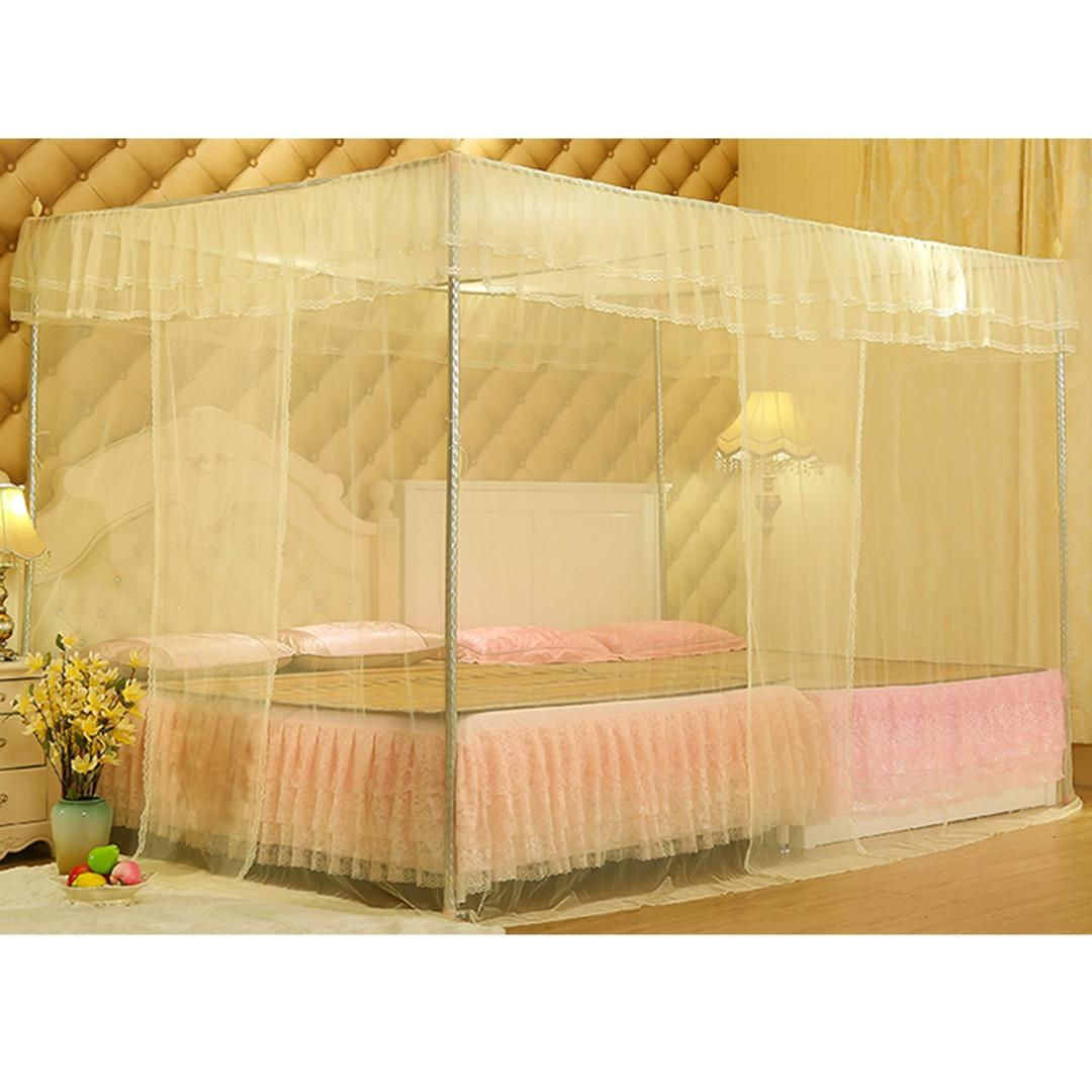 Queen New Bed Canopy Mosquito net Pink Ribbon white Lace bedding fits twin