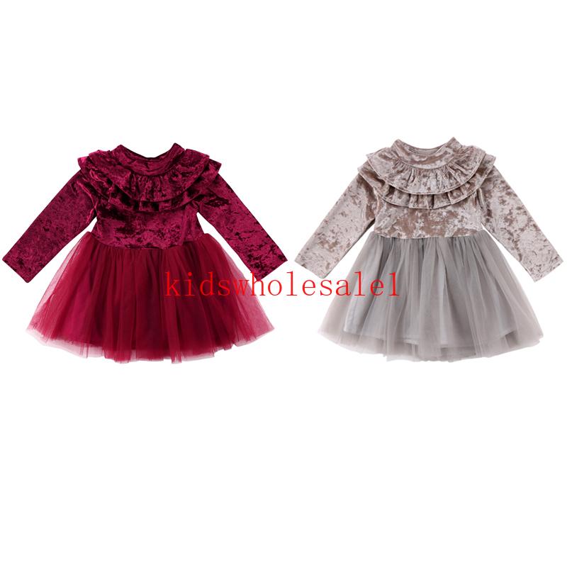 Baby Girls Toddler Winter Warm Long Sleeve Tutu Dress Velvet Dresses Princess