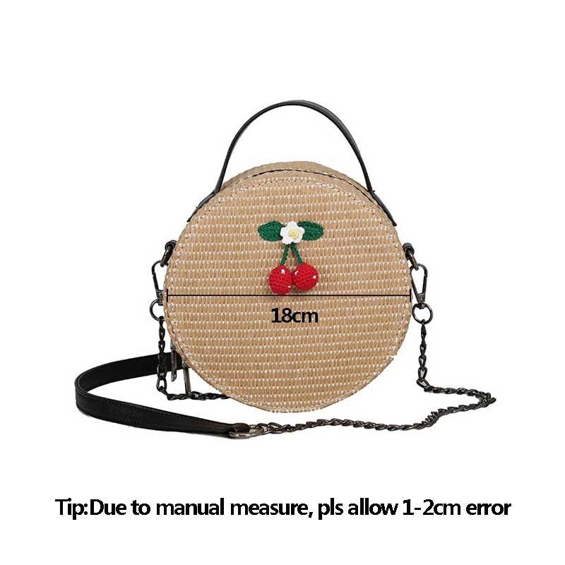 New Women Circle Handbag Summer INS Popular Female Straw Bag Cherry Lady Knit Shoulder Bag Fashion Holiday Crossbody SS7314 (12)