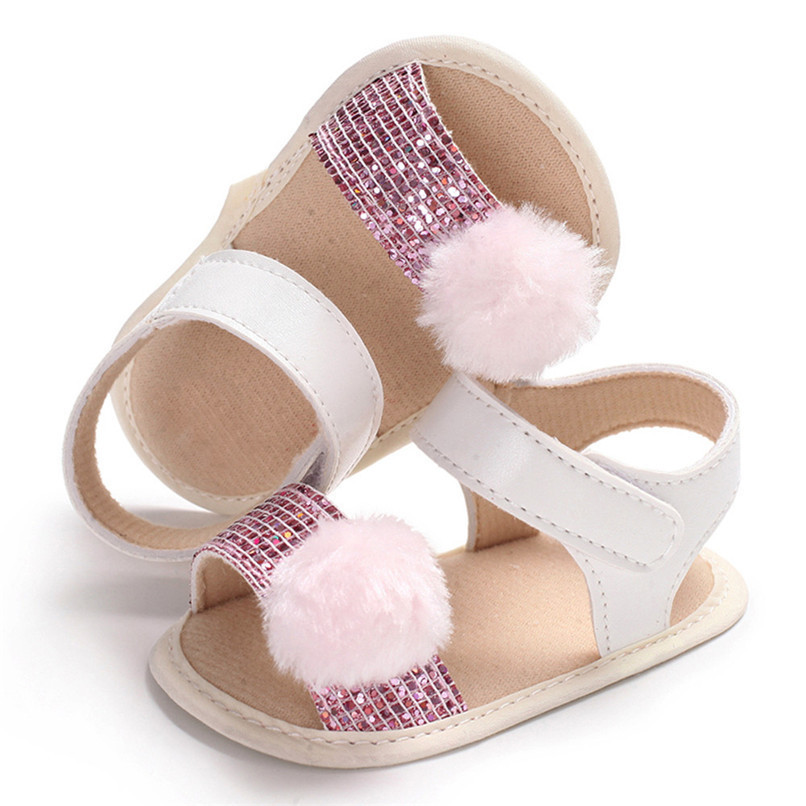 3 Color Summer Baby Girl Shoes Newborn Toddler Baby Girl Soft Ball Sequins Sandals Soft Sole Anti-slip Shoes Girl Sandals JE14#F (11)