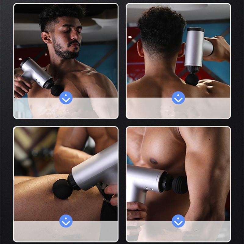 Fascial Gun Muscle Massaging Relax Recovery Soreness Pain Fascia Gun Relief Slimming Shaping Massager 4 Heads Gym Aiding (16)