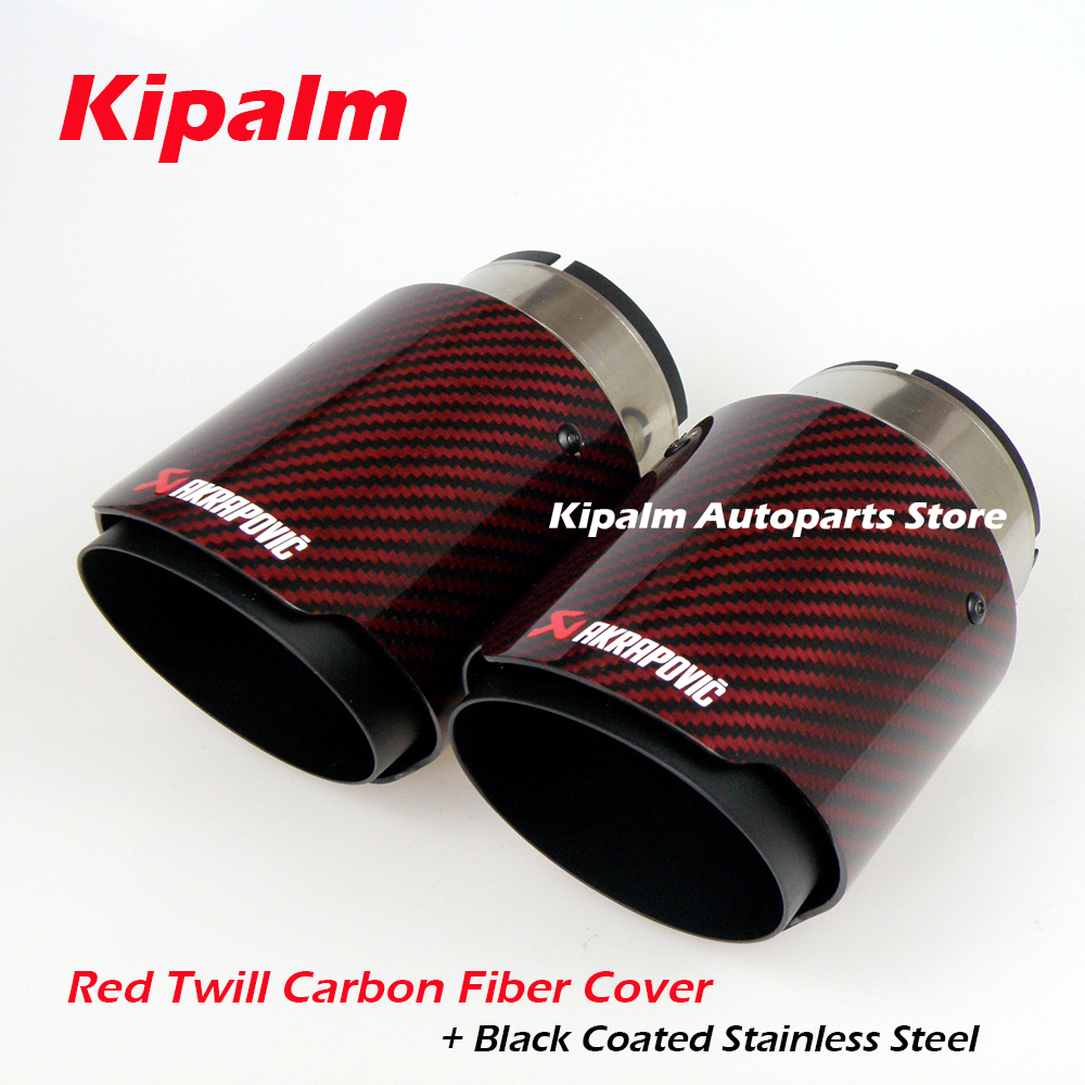 """1 X IN 4.5/"""" 114MM Akrapovic Glossy Carbon Fiber pipe Exhaust Tip 3.0/"""" 76MM OUT"""