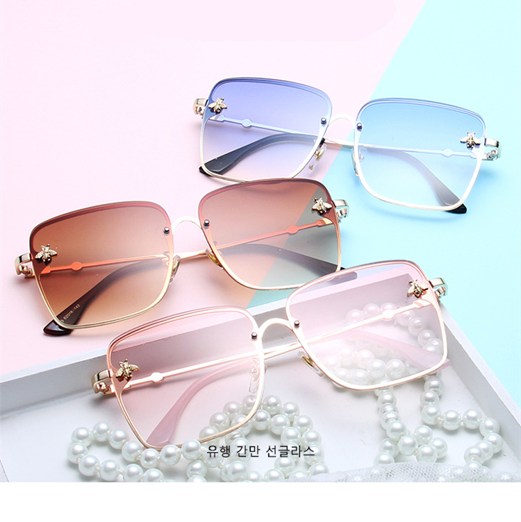 ASOUZ 2019 new box ladies sunglasses UV400 metal large frame small bee sunglasses classic brand design sports driving sunglasses (2)