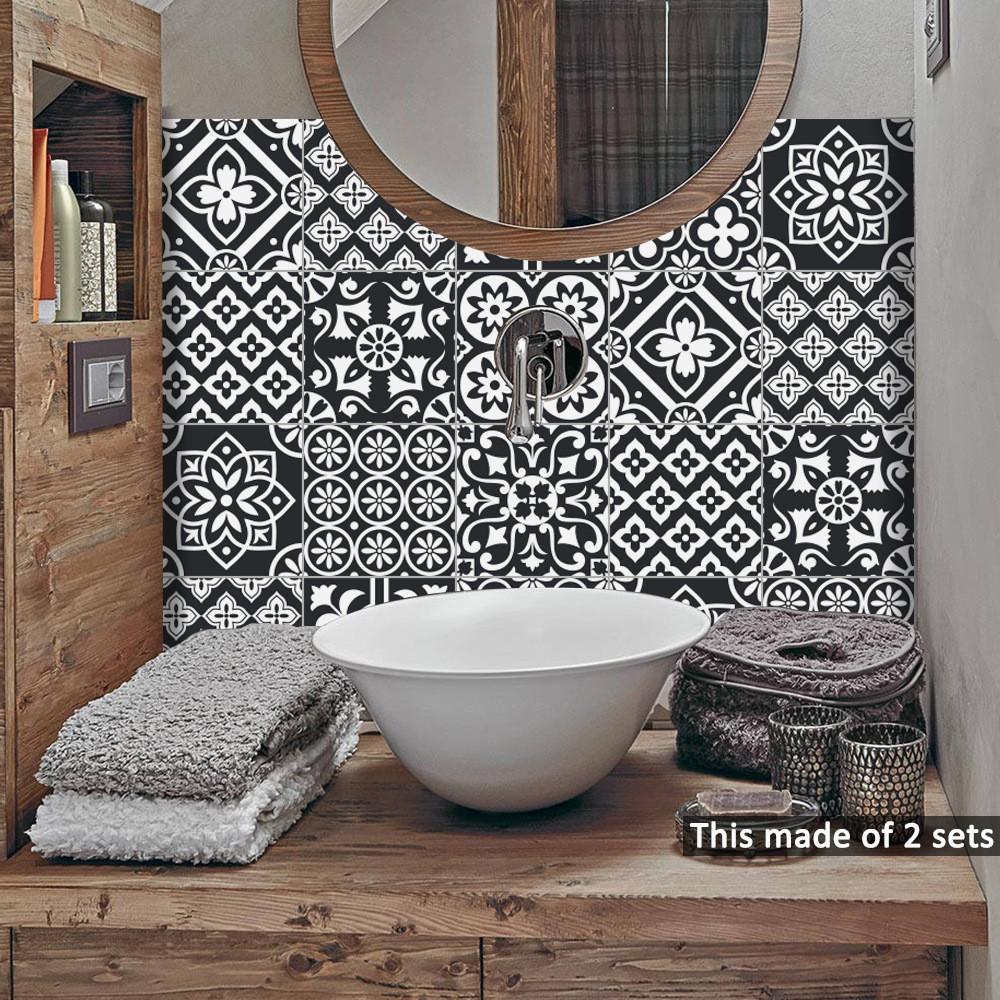 Photo De Salle De Bain Noir Et Blanc 10 pièces / paquet 15cm / 20cm mur auto noir blanc autocollants  anti-adhésif huile tiles imperméable cuisine salle de bain décoration  murale art