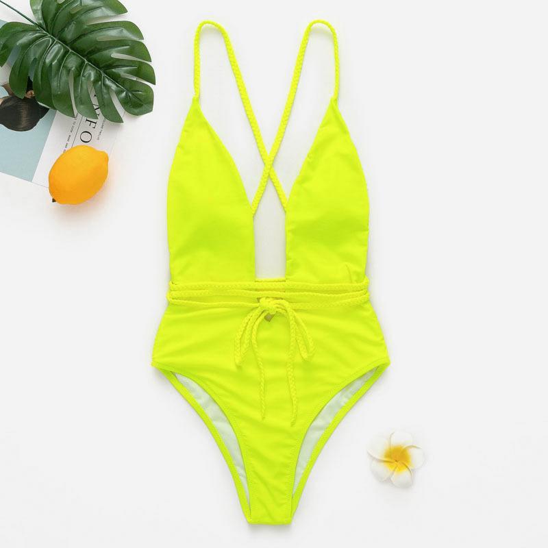 Bikinx Deep V-Ausschnitt Badeanzug Frauen Monokini String sexy Badeanzug einteilige Bodysuits High Cut Bademode Frauen 2019 Neon Bikini