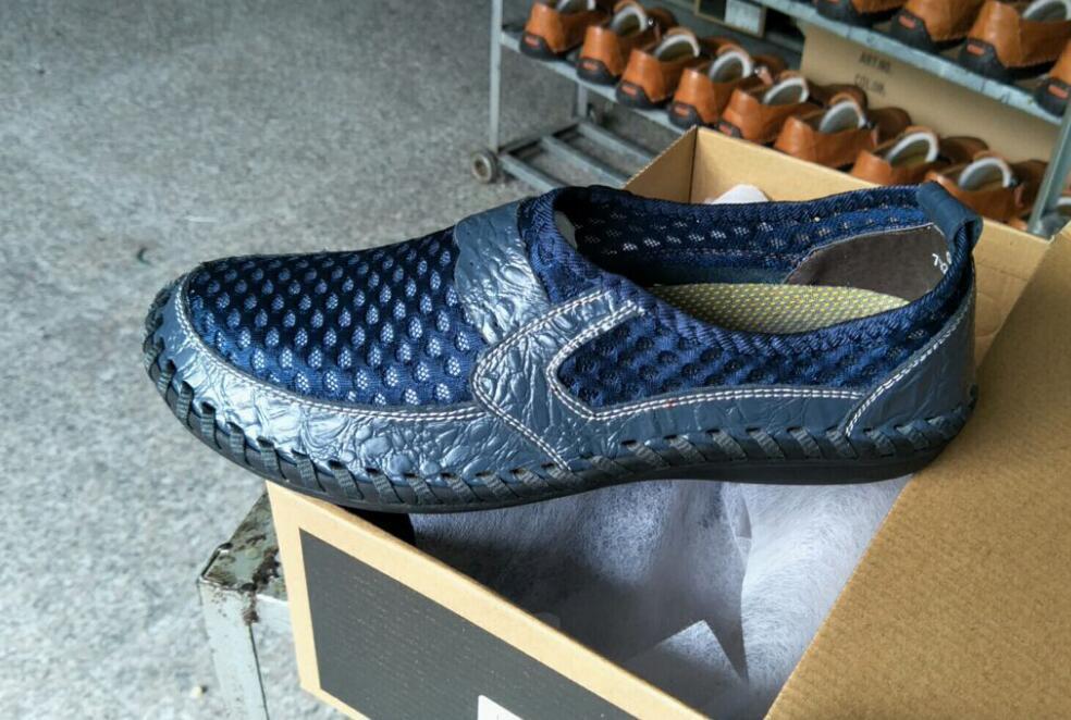 2020 Yaz Nefes Mesh Ayakkabı Günlük Ayakkabılar Marka Moda Erkekler Loafers balıkçı sandal üzerinde Gerçek Deri Kayma Mens