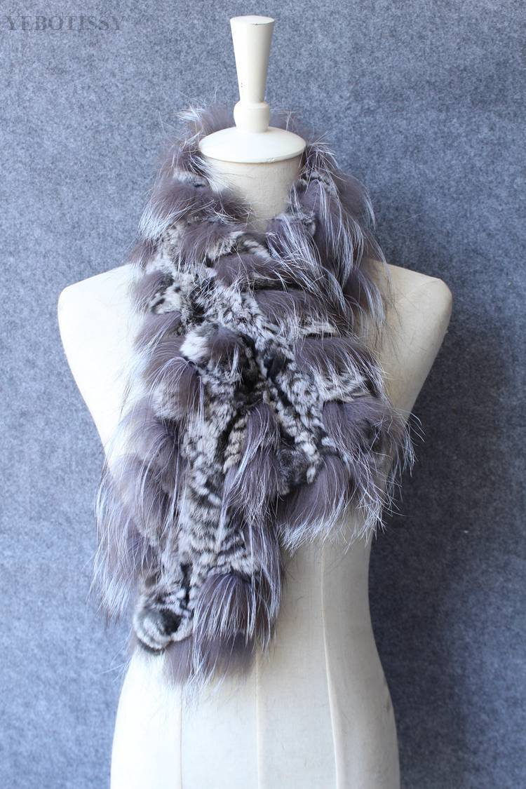 natural rex rabbit fur scarf silver fox fur (9)