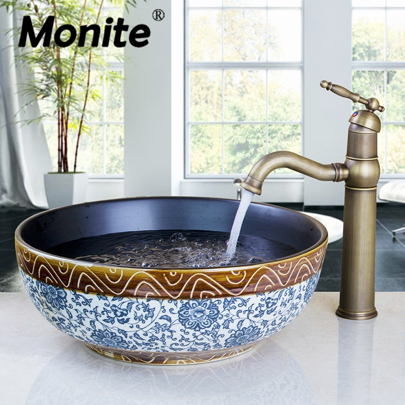 Ceramic Washroom Basin Vessel Vanity Sink Bathroom Mixer Basin Washbasin Brass Faucet Set with without over flew Drain