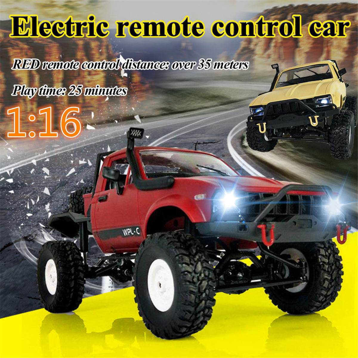 1:16 2.4G 4WD Remote Controller Car RC Car Crawler Off-road Climb Vehicle Toy For Boy Kids Gifts Sports Vehicle Model Toys