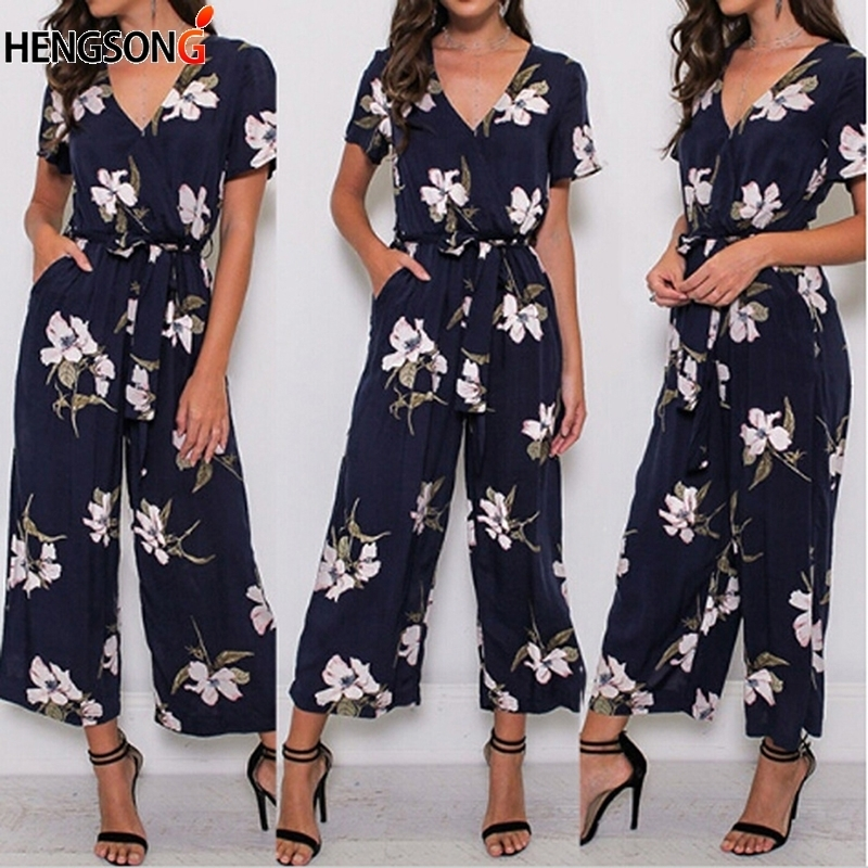 Fashion Women Romper New Summer Jumpsuit Plus Size Loose Casual Beach Wear Printed Pocket Sashes Jumpsuit Overalls Office Lady Y19060501