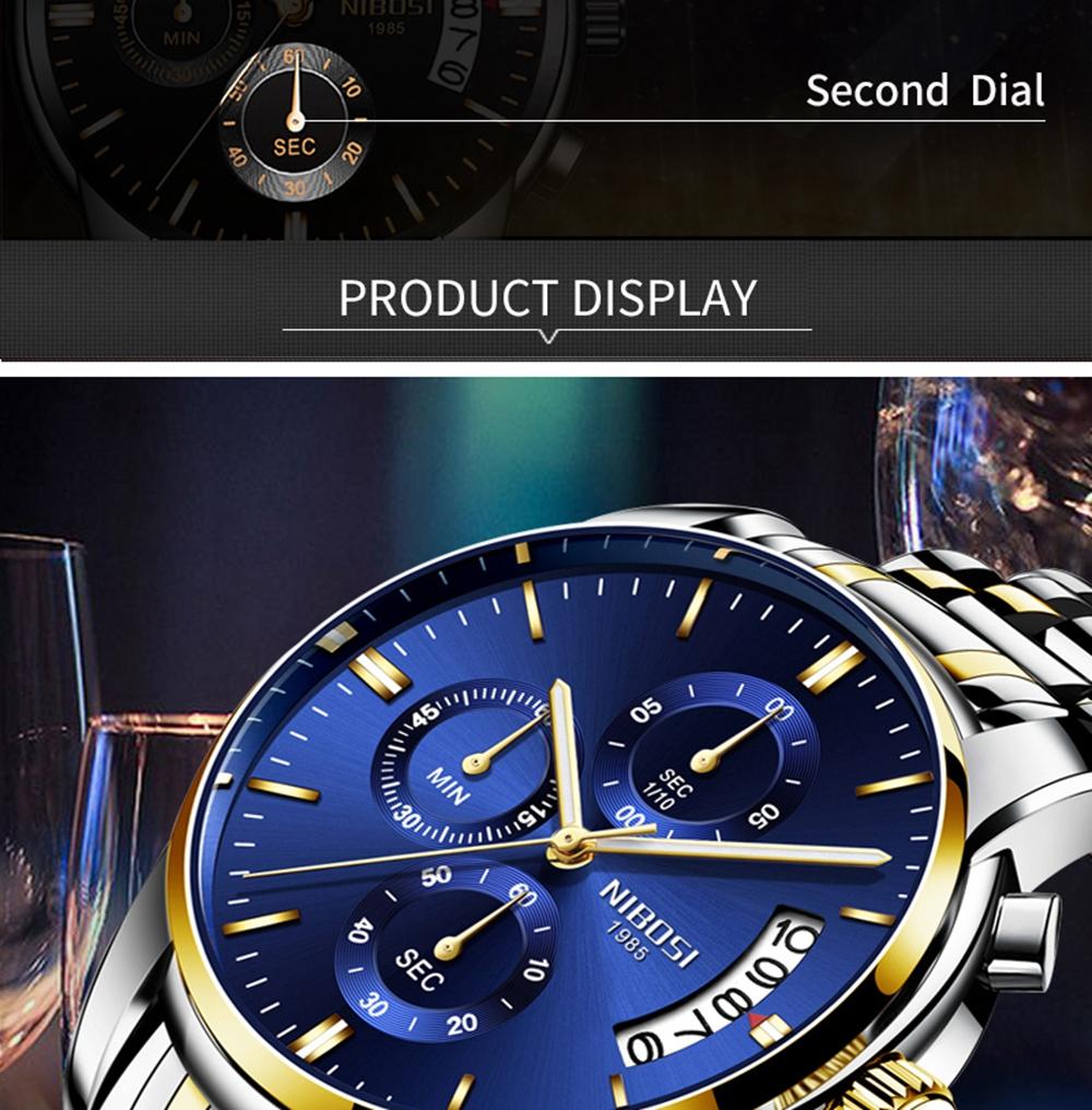 NIBOSI Mens Watches Top Brand Luxury Premium Luxury Fashion Luminous Waterproof Watch High-end Calfskin Pure Steel Strap Blue (6)