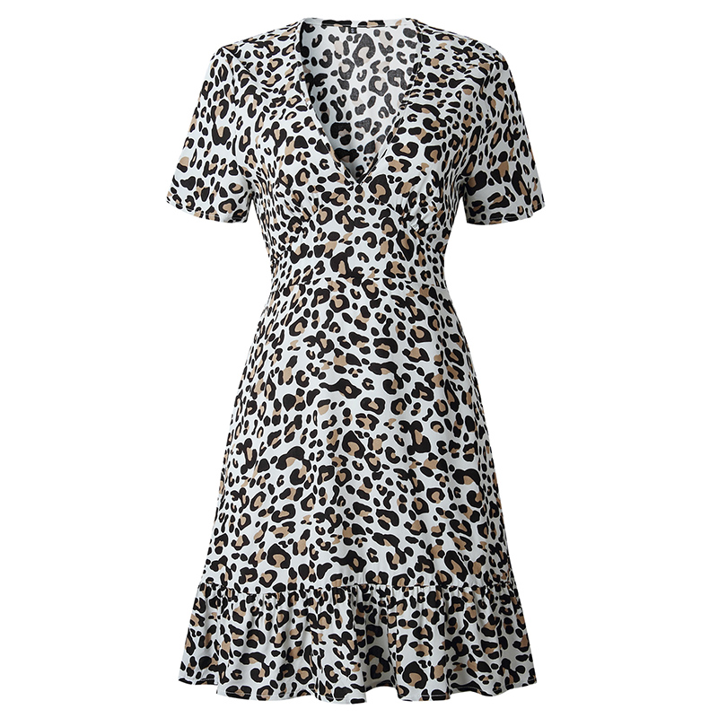 Forefair Print Leopard Dress sexy women short sleeve v neck Ruffle high waist Hem mini a line casual summer dress 2019 vestidos (27)