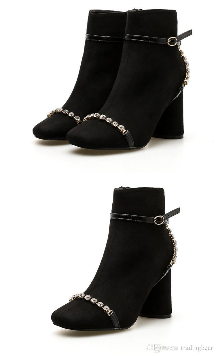 Charm2019 Elegant Black Rhinestone Chunky Heel Ankle Boots Winter Decent Women Designer Boots 8cm To