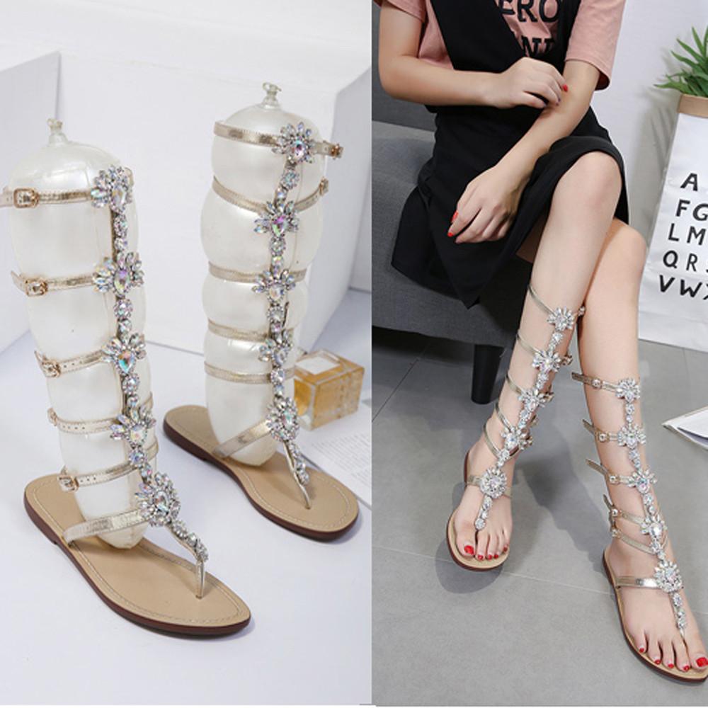 Girl Womens Summer Flat Shining Rhinestones Chain Sandals Boots T-strap Shoes Woman winter Lady Boots Women Fashion Hotselling