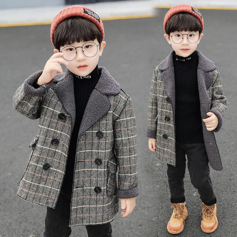 Long Wool Coat for Boys Plaid Jackets Thick Boy Wool Winter Coat Kids Snowsuit Boy Blends Coats Children Jacket Baby Boy Clothes