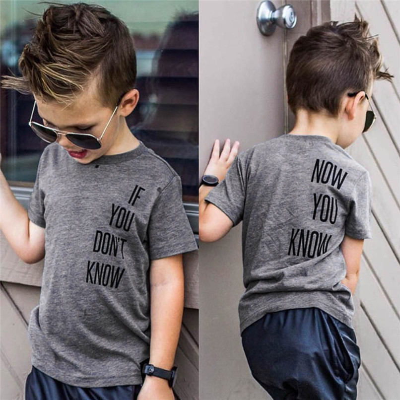 Summer Baby Boy Tops And Tees Toddler Infant Baby Boys Short Sleeve Two-sided Letter Print T-Shirt Tops Baby Boy Clothes M8Y24 (3)