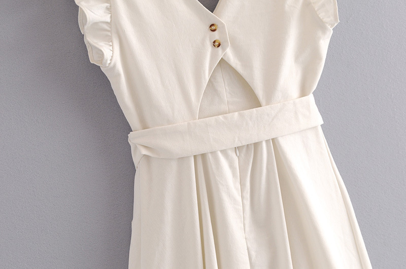 fcaedc0b8c2 Elegant Ruffless White Linen Dress Women Sleeveless Backless Bow Midi Dress  Summer Pocket Casual Dress 2018