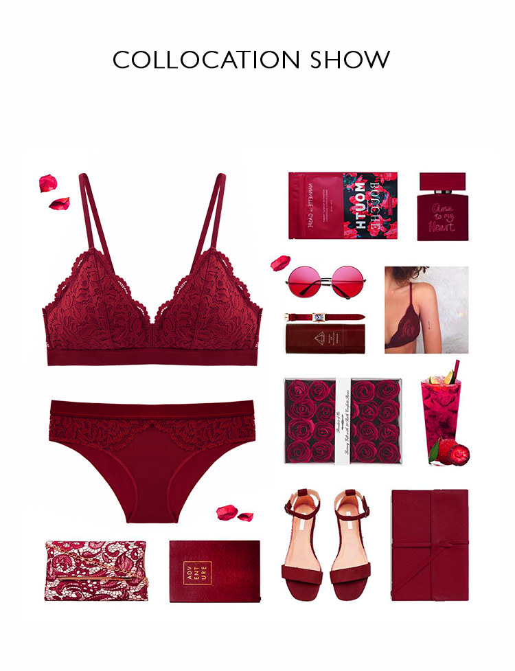 New Top Sexy Underwear Set Cotton Push-up Bra and Panty Sets 3/4 Cup Brand Red Lace Lingerie Set Women Deep V Brassiere
