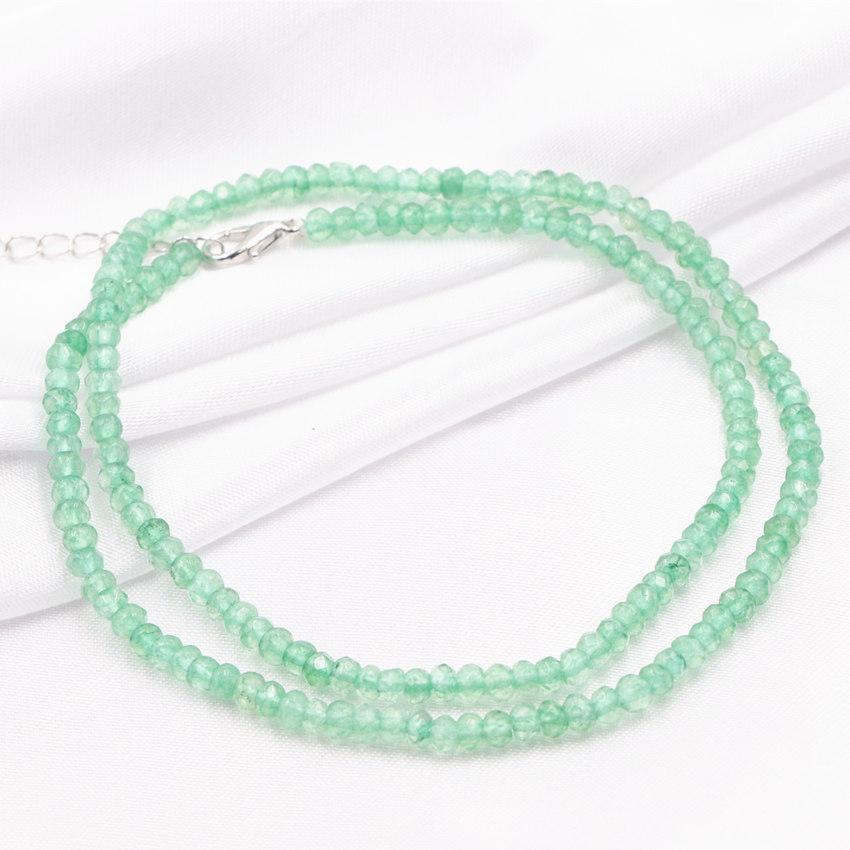 "Nouveau Pretty 4x6mm Abacus Green Emerald Gemstone collier 18/"""