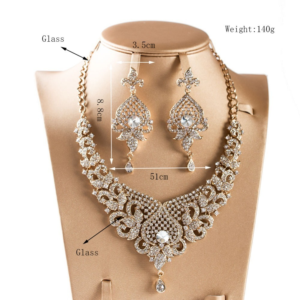 LAN PALACE New arrivals jewelry set gold color glass necklace and earrings for wedding J190521