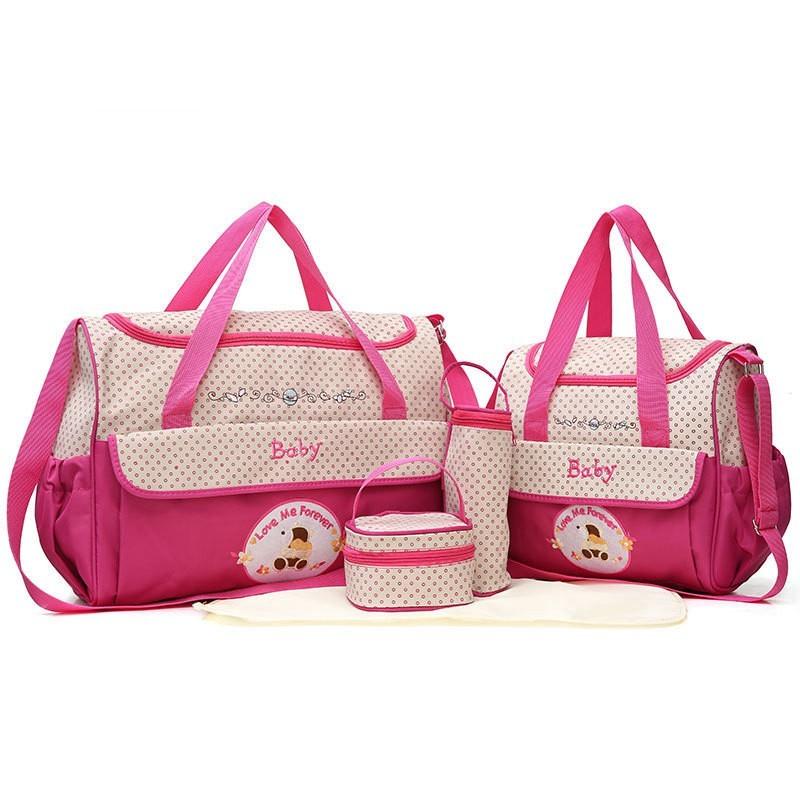 CROAL CHERIE 381830cm5pcs Baby Diaper Bag Sets changing Nappy Bag For Mom Multifunction Stroller Tote Bag Organizer (13)