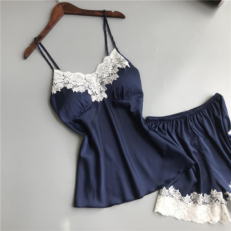 Queenral Pajama Sets For Women Summer Silk Satin Pijama Lingerie Sexy Pyjamas Women Nightie With Chest Pad Femme Pajama Shorts 1 (2)