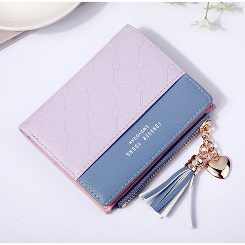 Women Wallet Female Short Paragraph Coin Purse Color Wallet Women Small Fold Wallets Tassel Zipper Button Bag Credit Card Holder (4)