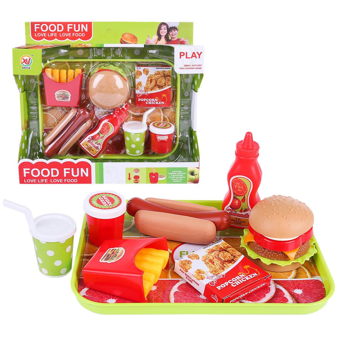 Kids Pretend Play Miniature Fun Kitchen Plastic Food Hamburger Fast Food Playset Educational Toys For Children Kids Gift 3 Sizes