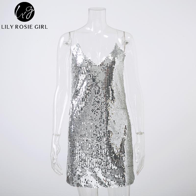 Profondo scollo a V argento paillettes backless sexy dress donne off spalla mini abito corto party di natale club strap abiti vestidos Q190412