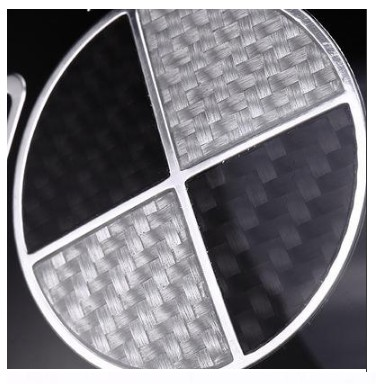 M Sports Alloy Front And Back Grill White Carbon Fiber Style Metal Badge Chrome