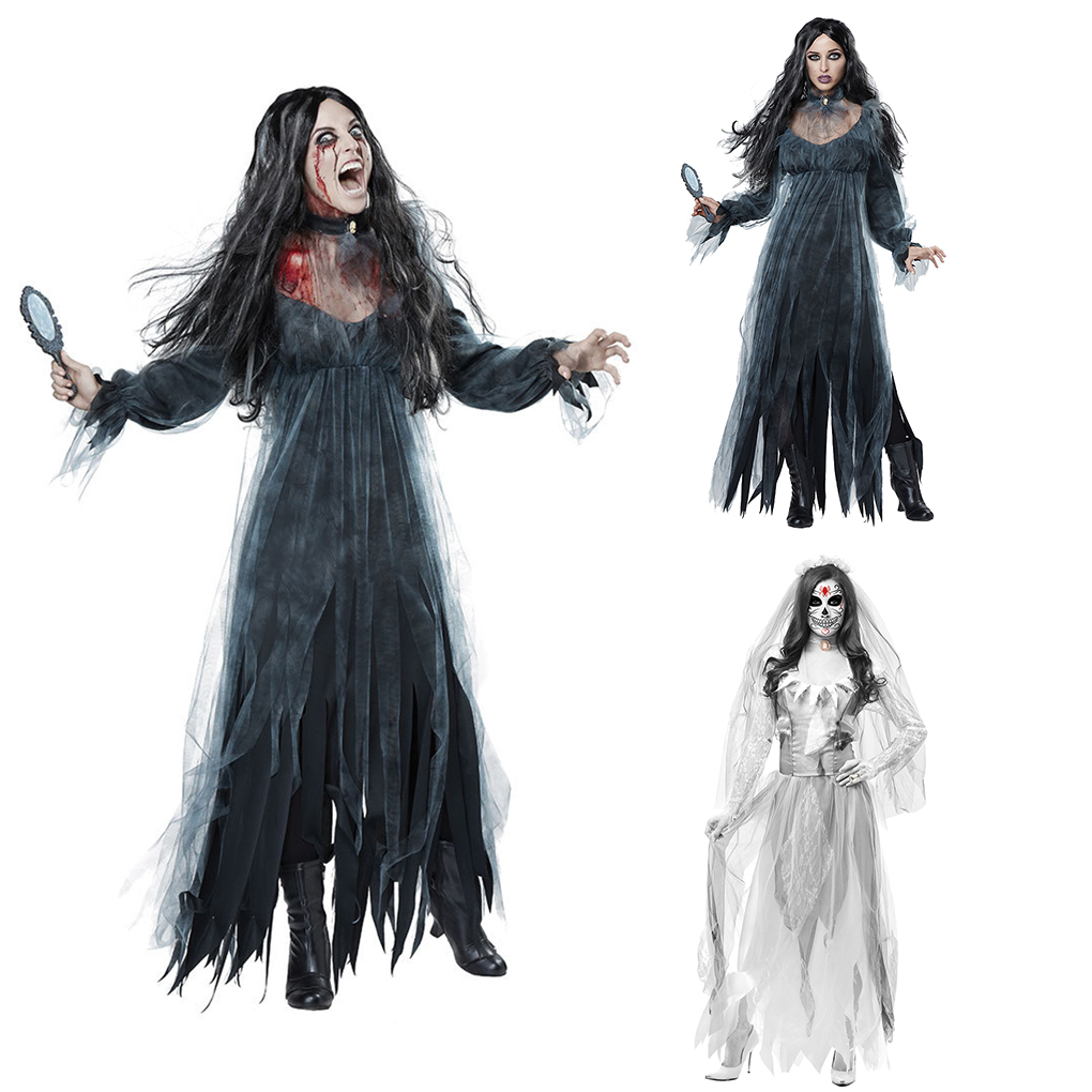 Femmes Zombie Corpse Bride Adulte Femme Costume Halloween Robe fantaisie bouquet