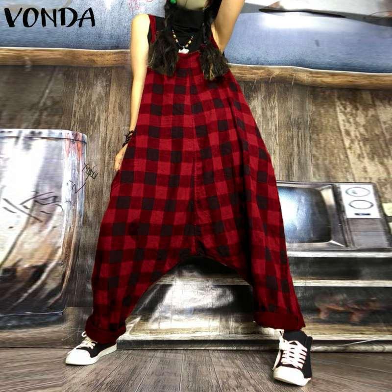 Большой размер комбинезон женский комбинезон 2019 осень винтаж гарем брюки плед печати длинный комбинезон случайные свободные комбинезоны без рукавов Y19071701