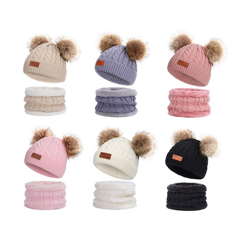 Infant Toddler Knit Pom Pom Hat/&Scarf Set Fleece Lining Beanie Cap and Neckwear