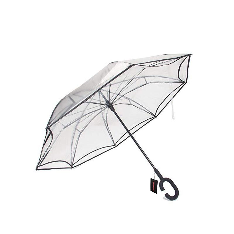 Inverted Folding Reverse Umbrella Double Layer Unbrella Cloth Umbrellas For Women Transparent Unbrellas Windproof Rainproof T8190619