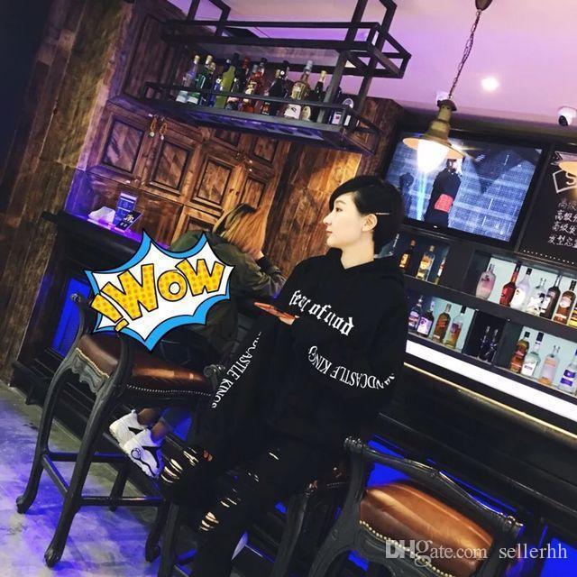 Sweat à capuche de la mode pour hommes craindre Dieu Beige But Voyage coton col rond Sweat-shirt Hip Hop Skateboard Noir Kaki Hot Sal