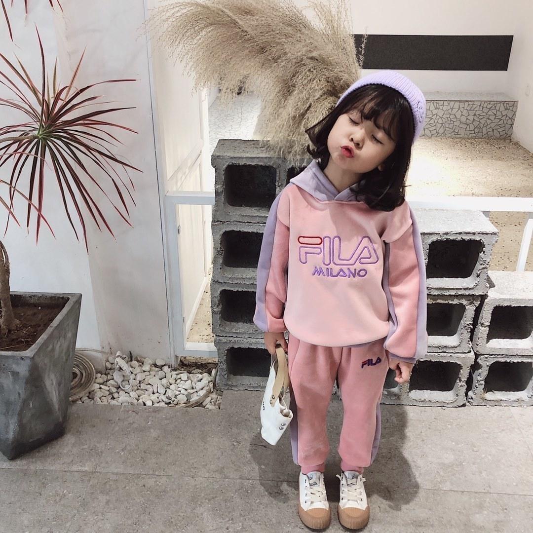 2019 a due pezzi Outfits Ragazze Maschio Bambino Movimento Twinset autunno insieme Set di abbigliamento 121012